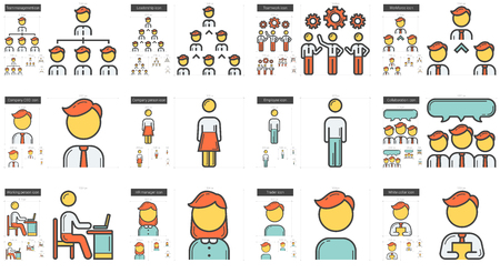 scalable set: Human resources vector line icon set isolated on white background. Human resources line icon set for infographic, website or app. Scalable icon designed on a grid system.