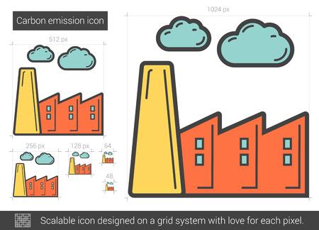 Carbon-Emission Vektorlinie Symbol auf weißem Hintergrund. Carbon-Emissionslinie Symbol für Infografik, die Website oder App. Scalable-Symbol auf einem Grid-System konzipiert. Standard-Bild - 65402508