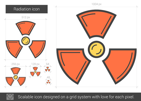 ionizing: Radiation vector line icon isolated on white background. Radiation line icon for infographic, website or app. Scalable icon designed on a grid system.