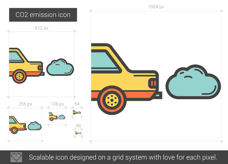 exhaust system: CO2 emission vector line icon isolated on white background. CO2 emission line icon for infographic, website or app. Scalable icon designed on a grid system. Illustration
