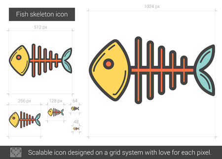scalable: Fish skeleton vector line icon isolated on white background. Fish skeleton line icon for infographic, website or app. Scalable icon designed on a grid system. Illustration