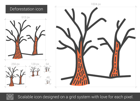 nude outdoors: Deforestation vector line icon isolated on white background. Deforestation line icon for infographic, website or app. Scalable icon designed on a grid system.