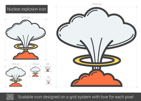 nuke: Nuclear explosion vector line icon isolated on white background. Nuclear explosion line icon for infographic, website or app. Scalable icon designed on a grid system.