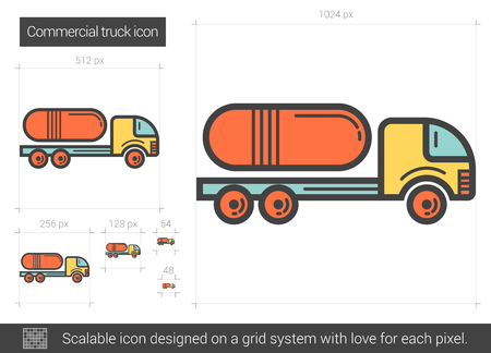 Commercial truck vector line icon isolated on white background. Commercial truck line icon for infographic, website or app. Scalable icon designed on a grid system.