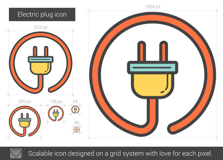 electric grid: Electric plug vector line icon isolated on white background. Electric plug line icon for infographic, website or app. Scalable icon designed on a grid system.
