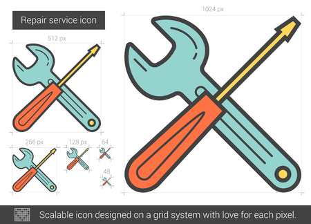 Repair service vector line icon isolated on white background. Repair service line icon for infographic, website or app. Scalable icon designed on a grid system. Stock Vector - 65402608