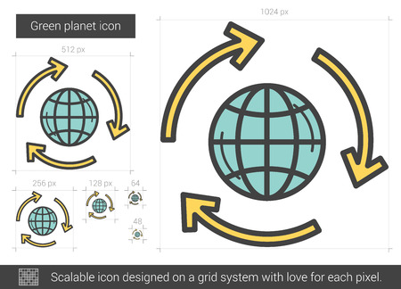 green planet: Green planet vector line icon isolated on white background. Green planet line icon for infographic, website or app. Scalable icon designed on a grid system.