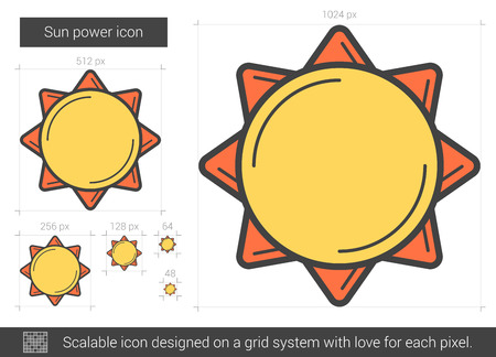 power grid: Sun power vector line icon isolated on white background. Sun power line icon for infographic, website or app. Scalable icon designed on a grid system.