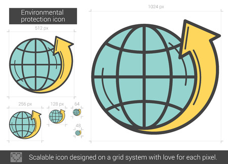protection line: Environmental protection vector line icon isolated on white background. Environmental protection line icon for infographic, website or app. Scalable icon designed on a grid system.
