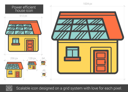 power grid: Power efficient house vector line icon isolated on white background. Power efficient house line icon for infographic, website or app. Scalable icon designed on a grid system. Illustration