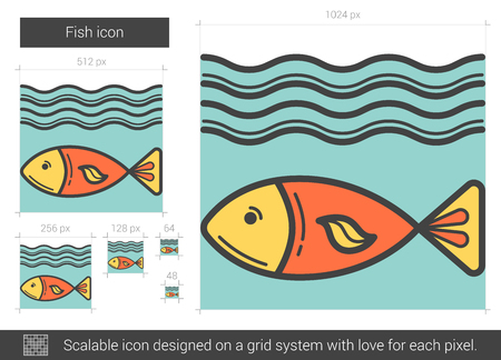 sea pollution: Fish vector line icon isolated on white background. Fish line icon for infographic, website or app. Scalable icon designed on a grid system.
