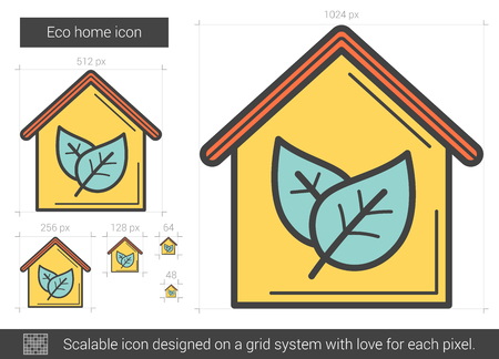 scalable: Eco home vector line icon isolated on white background. Eco home line icon for infographic, website or app. Scalable icon designed on a grid system.
