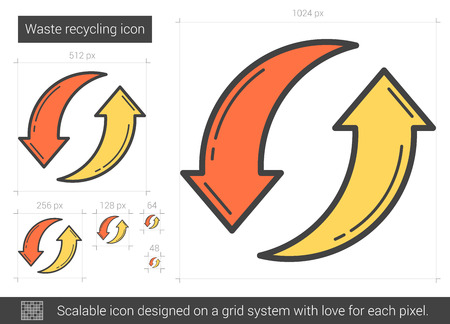 abstract recycle arrows: Waste recycling vector line icon isolated on white background. Waste recycling line icon for infographic, website or app. Scalable icon designed on a grid system. Illustration