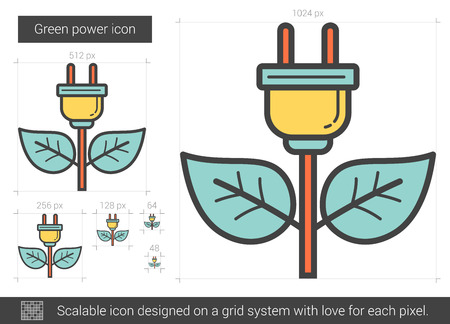 power grid: Green power vector line icon isolated on white background. Green power line icon for infographic, website or app. Scalable icon designed on a grid system.
