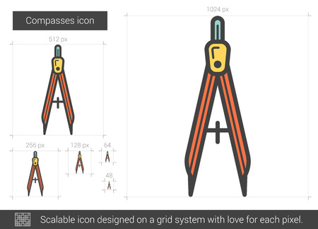 Compasses vector line icon isolated on white background. Compasses line icon for infographic, website or app. Scalable icon designed on a grid system.