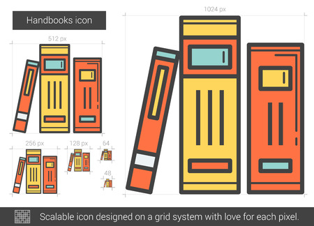 handbooks: Handbooks vector line icon isolated on white background. Handbooks line icon for infographic, website or app. Scalable icon designed on a grid system. Illustration