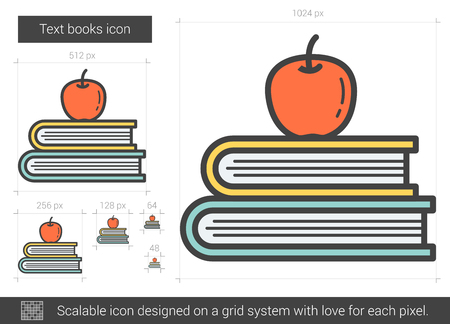 classbook: Text books vector line icon isolated on white background. Text books line icon for infographic, website or app. Scalable icon designed on a grid system.
