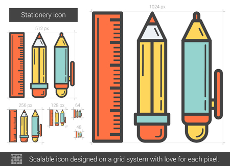 ball pens stationery: Stationery vector line icon isolated on white background. Stationery line icon for infographic, website or app. Scalable icon designed on a grid system.