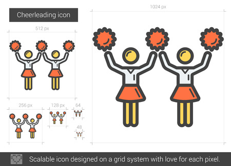 cheerleading squad: Cheerleading vector line icon isolated on white background. Cheerleading line icon for infographic, website or app. Scalable icon designed on a grid system. Illustration