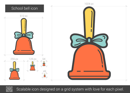 ding dong: School bell vector line icon isolated on white background. School bell line icon for infographic, website or app. Scalable icon designed on a grid system.