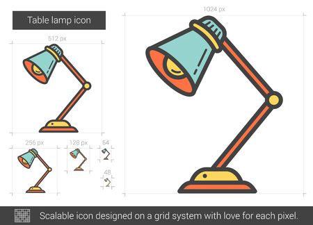 scalable: Table lamp vector line icon isolated on white background. Table lamp line icon for infographic, website or app. Scalable icon designed on a grid system.