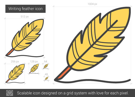 hand writing: Writing feather vector line icon isolated on white background. Writing feather line icon for infographic, website or app. Scalable icon designed on a grid system.