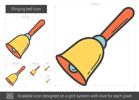 Ringing bell vector line icon isolated on white background. Ringing bell line icon for infographic, website or app. Scalable icon designed on a grid system. Illustration