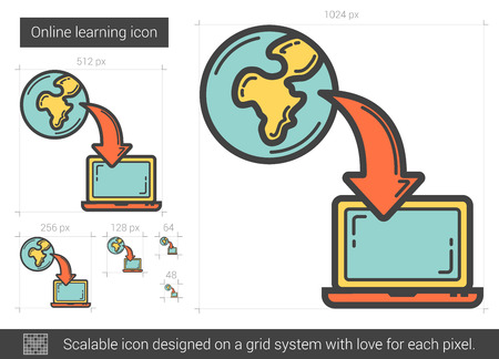scalable: Online learning vector line icon isolated on white background. Online learning line icon for infographic, website or app. Scalable icon designed on a grid system. Illustration