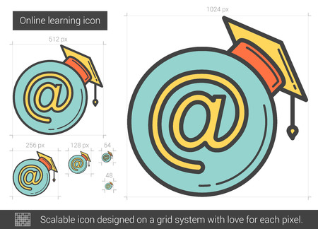 Online learning vector line icon isolated on white background. Online learning line icon for infographic, website or app. Scalable icon designed on a grid system. Ilustração