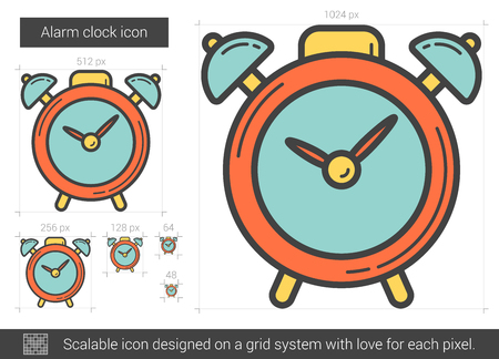 awakening: Alarm clock vector line icon isolated on white background. Alarm clock line icon for infographic, website or app. Scalable icon designed on a grid system. Illustration