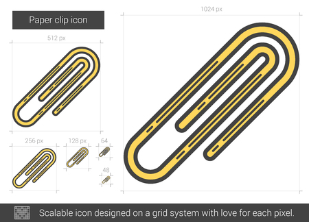metalic sheet: Paper clip vector line icon isolated on white background. Paper clip line icon for infographic, website or app. Scalable icon designed on a grid system.
