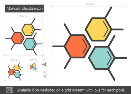 structural formula: Molecular structure vector line icon isolated on white background. Molecular structure line icon for infographic, website or app. Scalable icon designed on a grid system.