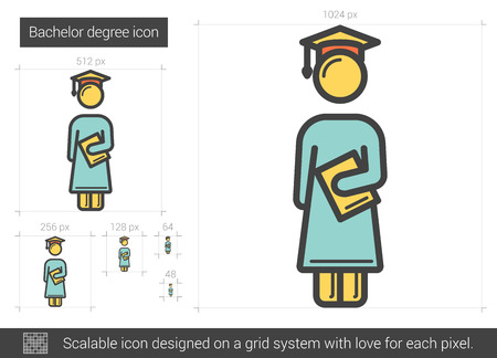 bachelor: Bachelor degree vector line icon isolated on white background. Bachelor degree line icon for infographic, website or app. Scalable icon designed on a grid system.