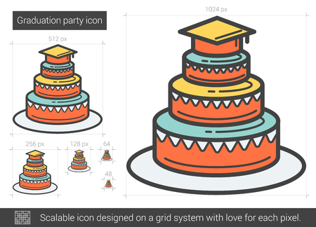 graduation party: Graduation party vector line icon isolated on white background. Graduation party line icon for infographic, website or app. Scalable icon designed on a grid system.