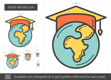 Study abroad vector line icon isolated on white background. Study abroad line icon for infographic, website or app. Scalable icon designed on a grid system. Illustration