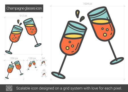two party system: Champagne glasses vector line icon isolated on white background. Champagne glasses line icon for infographic, website or app. Scalable icon designed on a grid system.