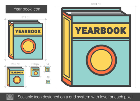 classmate: Year book vector line icon isolated on white background. Year book line icon for infographic, website or app. Scalable icon designed on a grid system.