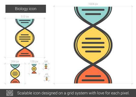 Biology vector line icon isolated on white background. Biology line icon for infographic, website or app. Scalable icon designed on a grid system.