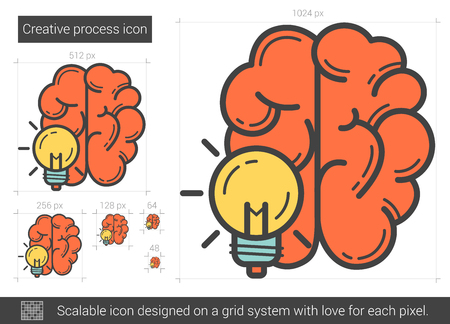 Proceso creativo del vector icono de la línea aislada en el fondo blanco. Proceso creativo icono de la línea de infografía, sitio web o aplicación. icono escalable diseñada en un sistema de red.