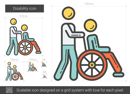 scalable: Disability vector line icon isolated on white background. Disability line icon for infographic, website or app. Scalable icon designed on a grid system.