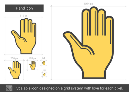 surgical glove: Hand vector line icon isolated on white background. Hand line icon for infographic, website or app. Scalable icon designed on a grid system.