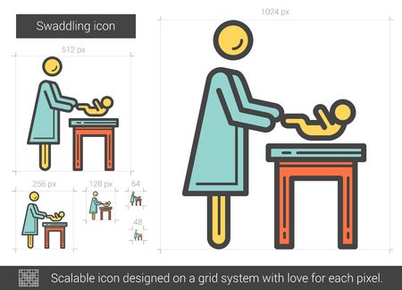 swaddle: Swaddling vector line icon isolated on white background. Swaddling line icon for infographic, website or app. Scalable icon designed on a grid system.