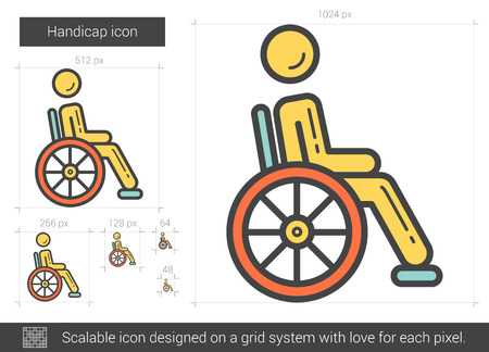 handicap: Handicap vector line icon isolated on white background. Handicap line icon for infographic, website or app. Scalable icon designed on a grid system. Illustration