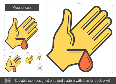 wound: Wound vector line icon isolated on white background. Wound line icon for infographic, website or app. Scalable icon designed on a grid system.