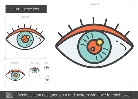 scalable: Human eye vector line icon isolated on white background. Human eye line icon for infographic, website or app. Scalable icon designed on a grid system.