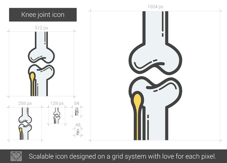 Knee joint vector line icon isolated on white background. Knee joint line icon for infographic, website or app. Scalable icon designed on a grid system. Illustration