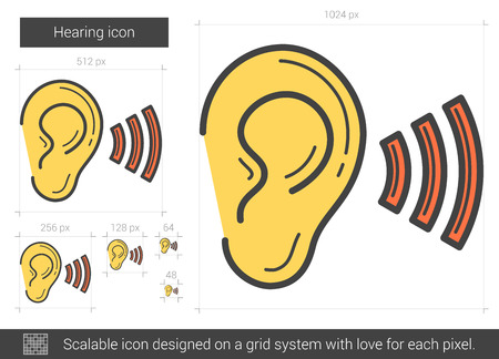 audible: Hearing vector line icon isolated on white background. Hearing line icon for infographic, website or app. Scalable icon designed on a grid system.