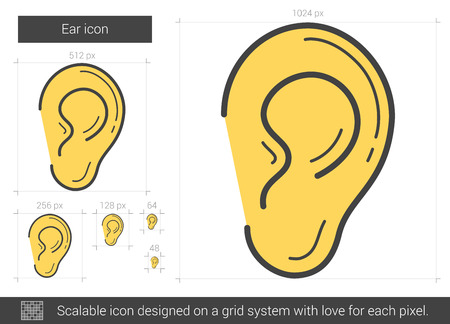 acoustics: Ear vector line icon isolated on white background. Ear line icon for infographic, website or app. Scalable icon designed on a grid system. Illustration