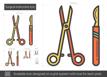 Surgical instruments vector line icon isolated on white background. Surgical instruments line icon for infographic, website or app. Scalable icon designed on a grid system. Illusztráció