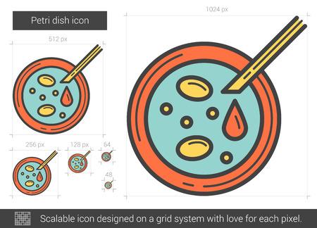 Petrischaal vector lijn pictogram op een witte achtergrond. Petrischaaltje lijn pictogram van infographic, website of app. Schaalbaar pictogram ontworpen op een grid-systeem. Stock Illustratie